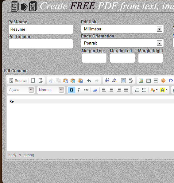 create pdf from text