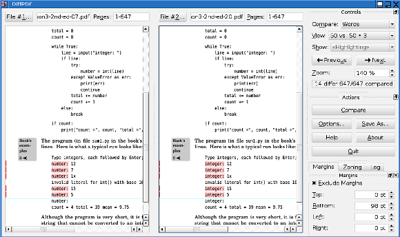 comparison between two pdf