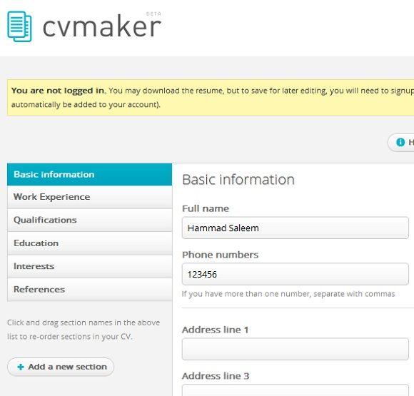 create a free professional resume