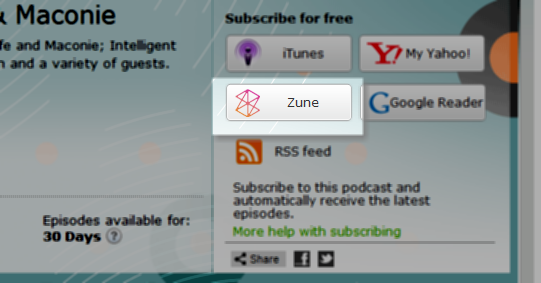 zune podcast management software