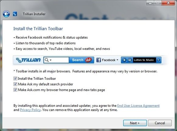Ask Search toolbar - home page override - Trillian