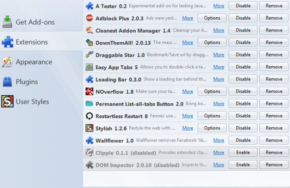 firefox addon clean up