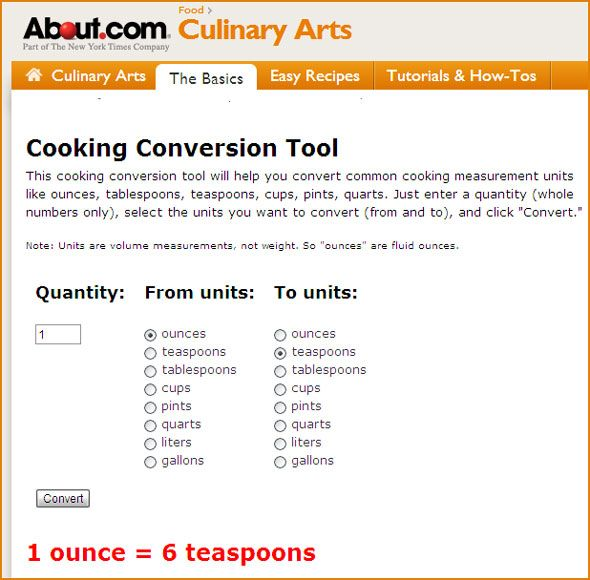 Cooking Conversion Tool (About.com). Free Recipe Calculator