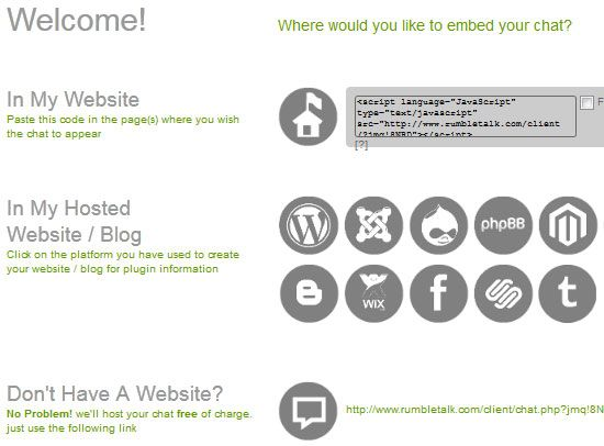 instant chat for your website