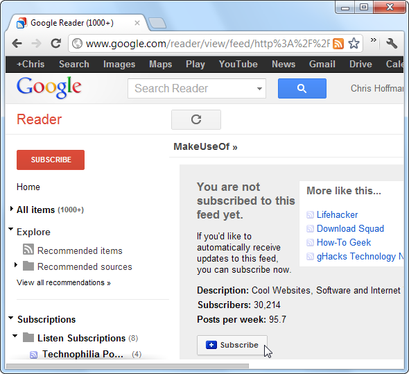 rss subscription extension chrome