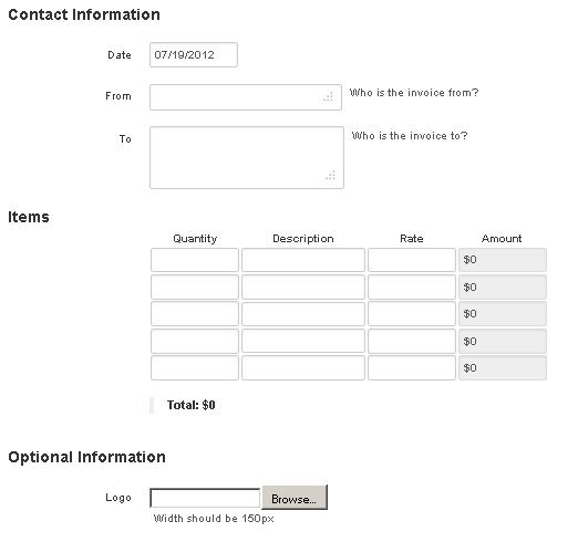 create printable invoice
