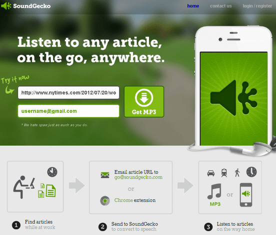 115   SoundGecko: Converts Text Articles To MP3 Format