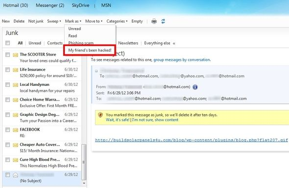 Easily Do A Complete Overhaul Of Your Hotmail Inbox, And Maintain It 18 Mark Friend As Being Hacked