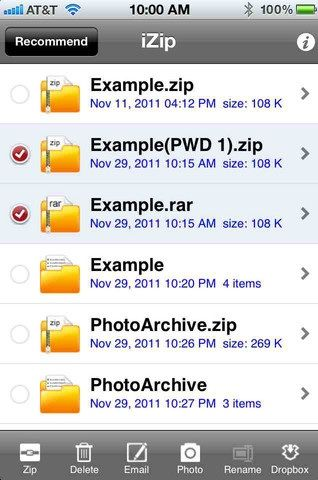 extract compressed files iphone