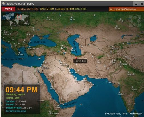 Advanced World Clock: An Interactive Map With Times of Different World Regions Map