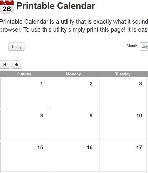 print out calendars