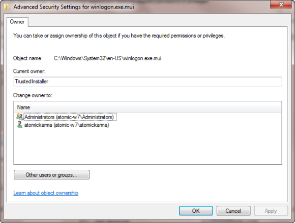Assign an owner to an object in Windows 7