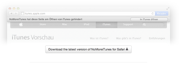 nomore1   NoMoreiTunes: Block iTunes From Starting (Safari)
