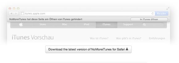 nomore1   NoMoreiTunes: Block iTunes From Starting (Safari)