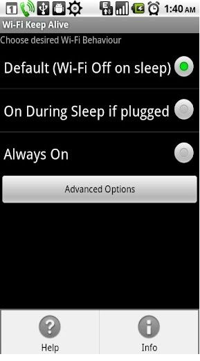 android keep wifi enabled