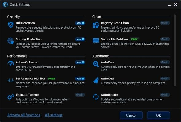 Advanced SystemCare 6 Beta 2.0 - Your Very Own PC Doctor [Windows] ASC Quick Settings Window