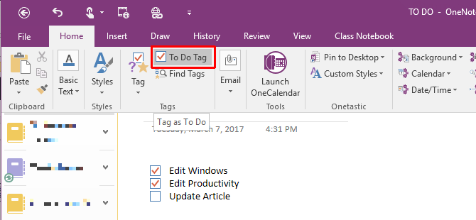 10 Awesome OneNote Tips You Should Be Using All the Time OneNote Home To Do Tag 670x310