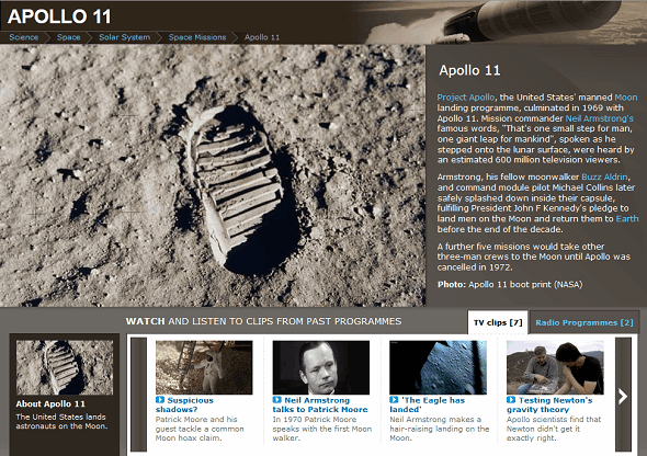 Learn About Neil Armstrong & The Apollo 11 Moon Landing On The Web bbc apollo 11