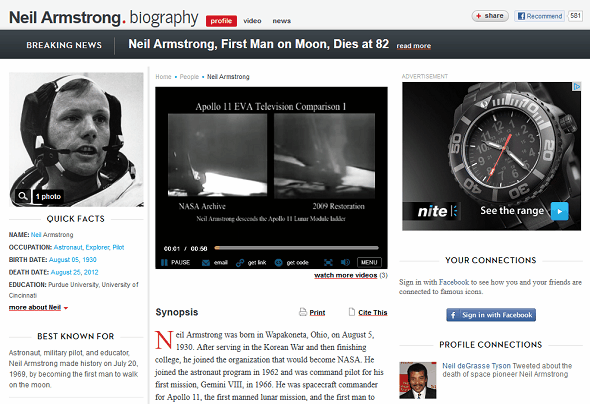 Learn About Neil Armstrong & The Apollo 11 Moon Landing On The Web biography neil armstrong