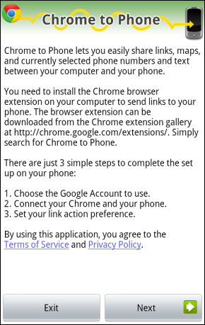 chrome to phone extension