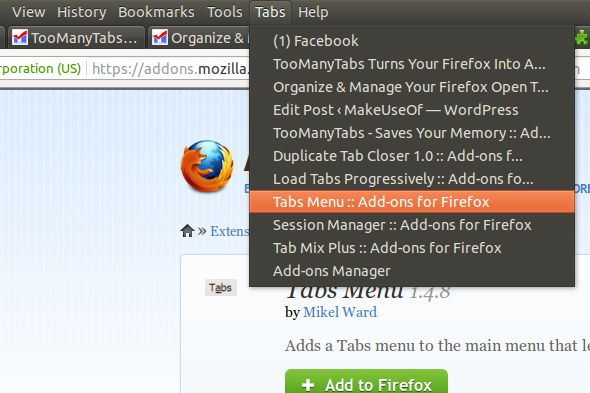firefox tab management add on