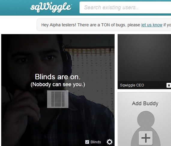sqWiggle: An Online Network Focusing On Real Conversations Blinds