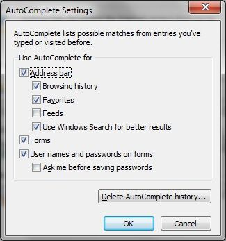 Kill The Tedium of Online Forms With These 10 Great Autofill Tools IE AutoComplete Settings