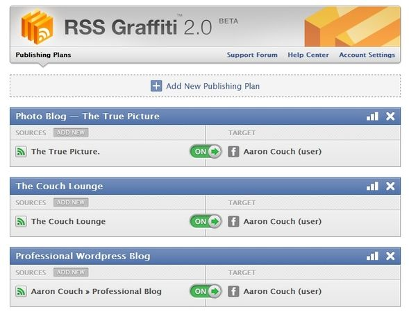Distributing Your Blog Content: The Best Auto-Posting Services RSS Graffiti User Interface