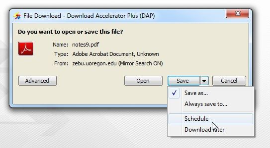 Download Accelerator Plus: A Fast Download Manager With Scheduling & Many Other Features (Free Accounts) Schedule