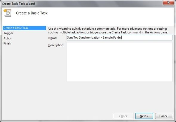 SyncToy: Microsoft's Simple Backup & Synchronization Solution [Windows] Task Scheduler Create Basic Task Name