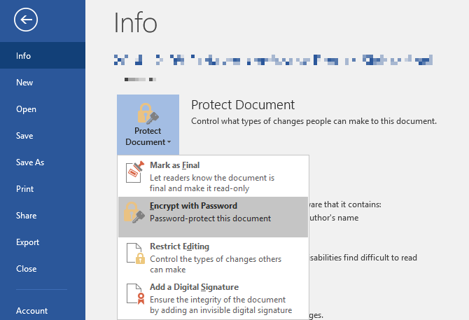 Microsoft Word Encrypt File With Password
