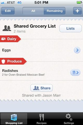 shareable grocery list
