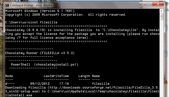 Before the Windows Store: Package Managers and Software Repositories chocolately filezilla