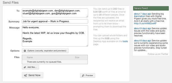 digital pigeon1   Digital Pigeon: Send Large Files Online Through Your Browser Or Desktop