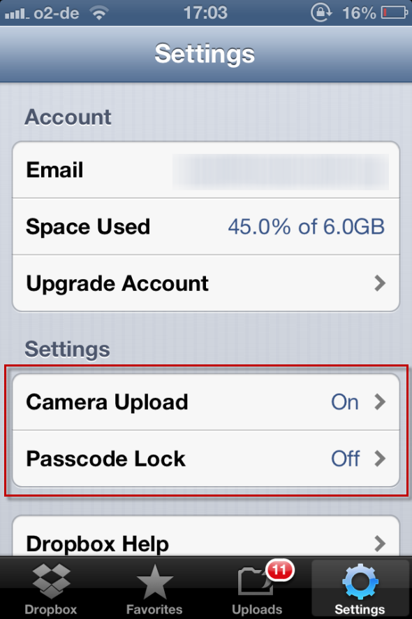 Dropbox - One Of The Must-Have Apps If You Own An iPhone dropboxsettings1