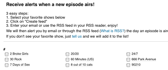 tv shows rss