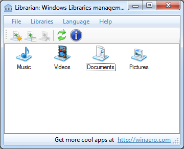manage libraries windows