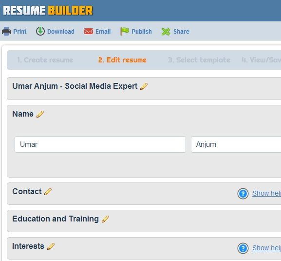 create professional resumes