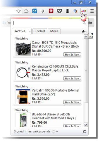 google chrome ebay extension