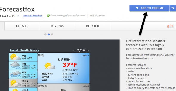 chrome weather forecast