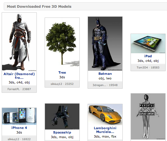 The Free 3D Models: Download 3D Models