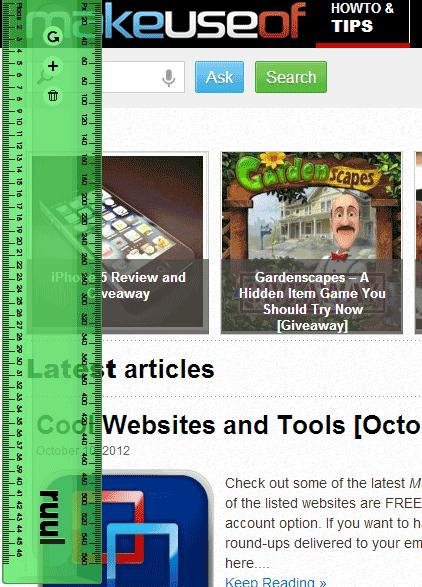 ruul1   Ruul: A Screen Ruler Built Into Google Chrome