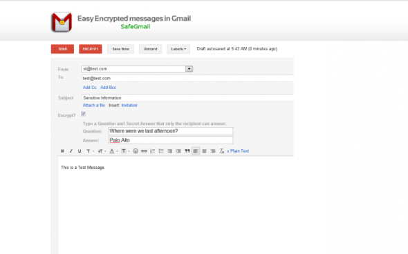 encrypt messages in gmail