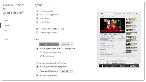 youtube options for chrome