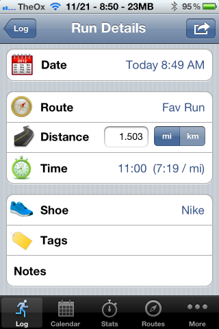 Runner's Log Makes It Easy To Keep Track Of Your Runs [iOS, Free For A Limited Time] 2012 11 21 08