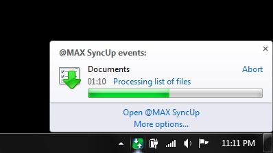 Automatically Backup, Sync & Restore Your Windows Files With @MAX SyncUp [Rewards] App tray