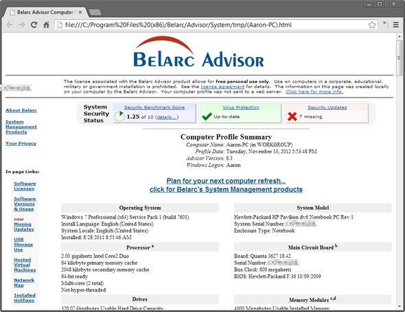 belarc analysis portable