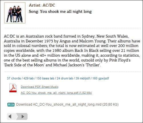 acdc   MusicNotesLib: An Online Resource To Get Music Sheets For Popular Songs