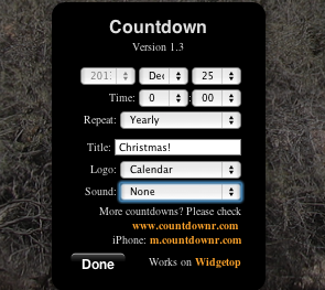 dashboard countdown widget mac
