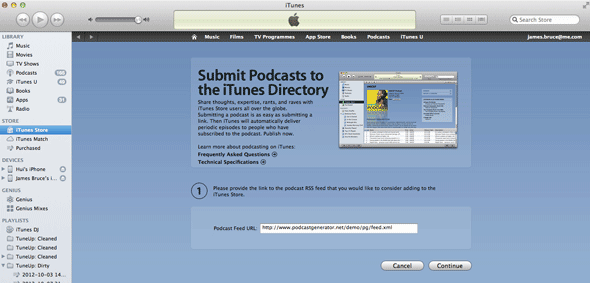 publish podcast to itunes